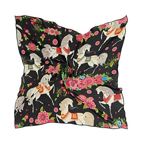 60 × 60 CM Chal Bufanda Cuadrada Sin costuras Animal Caballos blancos Patrón de flores para mujeres Señoras Pañuelo en la cabeza Dulce Envolturas Impresión ligera