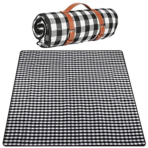 200 x 200cm Picknick deken/kleed Fleece deken Outdoor Vochtbestendige Picknickmat, als Picknickkleed of Picknickkleed - Fleece plaid -Plaids dekens -Fleecedeken/kleed Waterdicht,Black grid