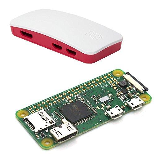 Raspberry Pi Zero W - Zero + Case - Bestehend aus: Raspberry Pi Zero W, offiziellem Raspberry Pi Zero Gehäuse (rot/weiß)