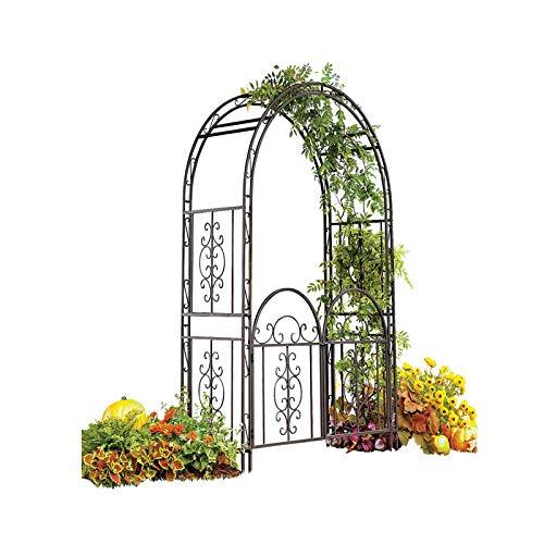 REXX Hochzeitsbogen Gartenpergola Romantischer Rankenbogen Rosenbogen mit Tür Draußen Kletterpflanzen Schwarz 214x110x37cm Metall Rankhilfe Rankgitter Torbogen