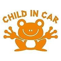 imoninn CHILD in car ステッカー 【シンプル版】 No.22 カエルさん (オレンジ色)