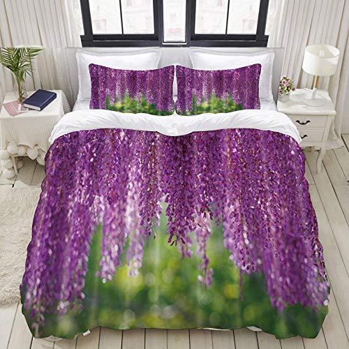 Juego de funda nórdica de fácil cuidado y 2 fundas de almohada, tema floral, flor de glicina verde púrpura, hermoso amor romántico, estilo chino japonés, elegante funda de edredón de microfibra de cal