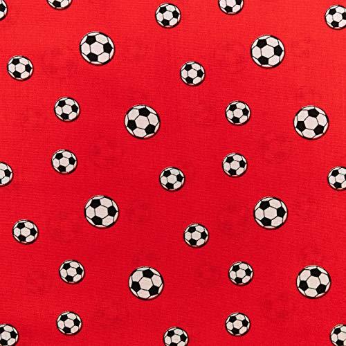 Tela de algodón para niños, diseño de fútbol, color rojo