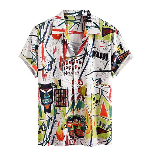 Camisa de Manga Corta Estampada con Bloques de Color para Hombre Camisa Casual de Verano de un Solo Pecho con Solapa clásica de Todo fósforo L