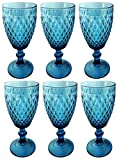 Vintage 6 Teile Set Glasnetz König Trinkglas Glas Gläser Weingläser Wasserglas Longdrinkglas (6 Stück Weinglas blau)