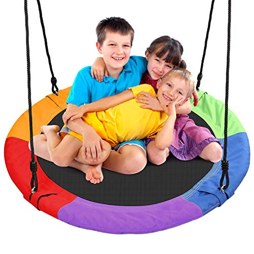Odoland 40 inch Kid Round Color Tree Swing Chidren Platform Rope Swing Outdoor Flying Saucer SwingSeat with Adjustable Hanging Ropes for Indoor Backyard Playground and Amusement Park