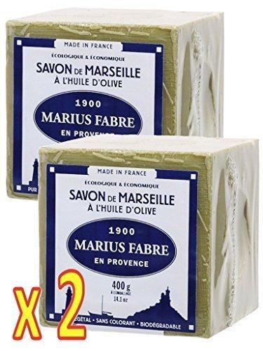 Savon de MARSEILLE ˆ l'HUILE OLIVE Cube de 400g Marius Fabre - Lot de 2 Cubes 400g