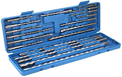 20Pcs in One Rotary Hammer Drill Bits Set & Chisels- SDS Plus Concrete Masonry Hole Tool with Storage Case
