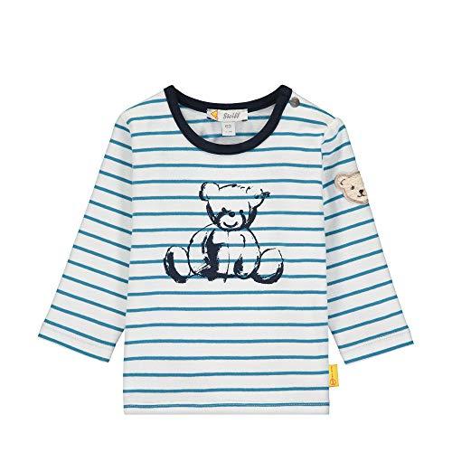 Steiff Baby-Jungen mit Streifen und Teddybärprint Langarmshirt, Türkis (Faience 6042), 68 (Herstellergröße: 068)