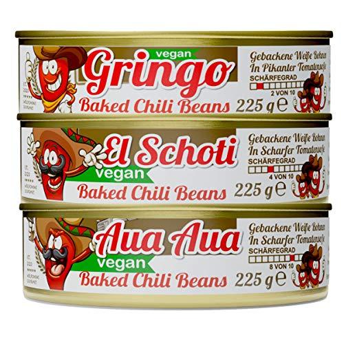 Schlump-Chili⎪CHILI BEAN CHALLENGE⎪Gebackene Weiße Bohnen mit Tomatensoße in verschiedenen Schärfegraden von mild bis extra scharf (3 x 225g)