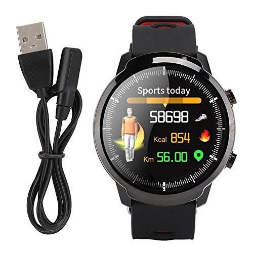 AMONIDA 1,3 Zoll tragbares und praktisches Multifunktions-Sportarmband, intelligente Uhr, intelligente Kleidung, Herzfrequenzuhr,(Black red)
