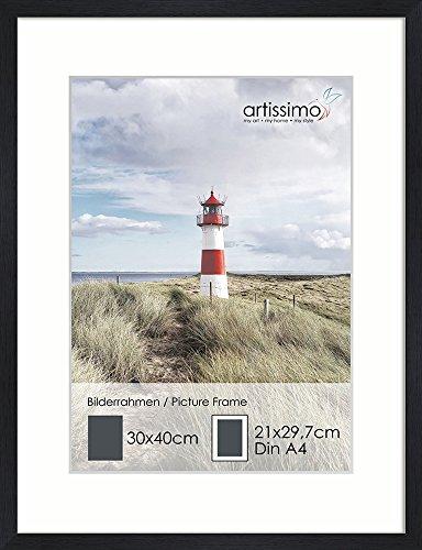 artissimo, PE6598-WR, Bilder-Rahmen 30x40cm mit Passepartout, Wechselrahmen für Bilder Din A4, Holz, Echtholz-Rahmen inkl. Passepartout und Kunstglas, Außenmaß ca. 32x42cm, Farbe Schwarz Matt Black