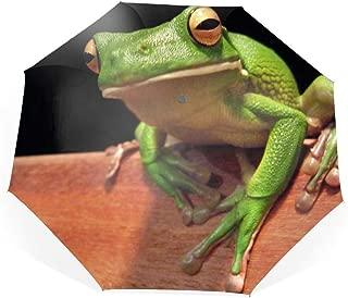 Animal White Lipped Tree Frogs Travel Umbrella, Automatic Folding Umbrella