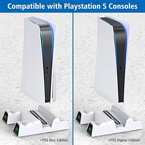Suporte para PS5 com ventoinha de refrigeração e estação de carregamento de controlador duplo para console PlayStation 5…