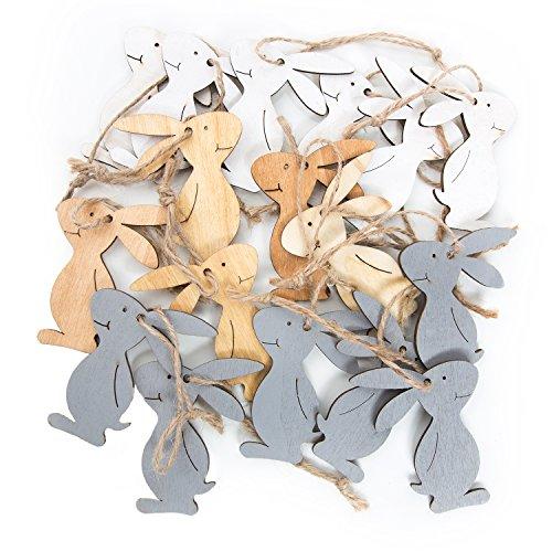 18 natürliche Holzosterhasen 6,5 cm grau beige braun: Osterhasen Hasen Osterschmuck Osteranhänger zur Osterdeko Hasenanhänger Holz Deko zu Ostern als Anhänger im Osternest shabby chic