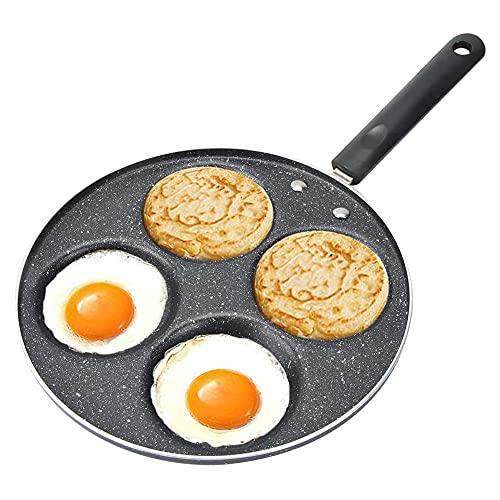 Padella Antiaderente per Uova a 4 Fori, Padella per Pancake Pancake Piastra Rotondo Forma Padelle per Crepes per Frittata Pancake