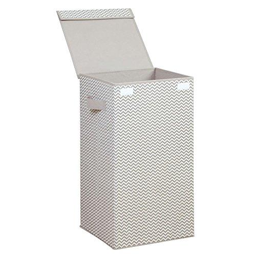 InterDesign Axis Cesta de lavandería con tapa, bolsa de ropa sucia de polipropileno con asas y con diseño de zigzag, gris topo/crudo
