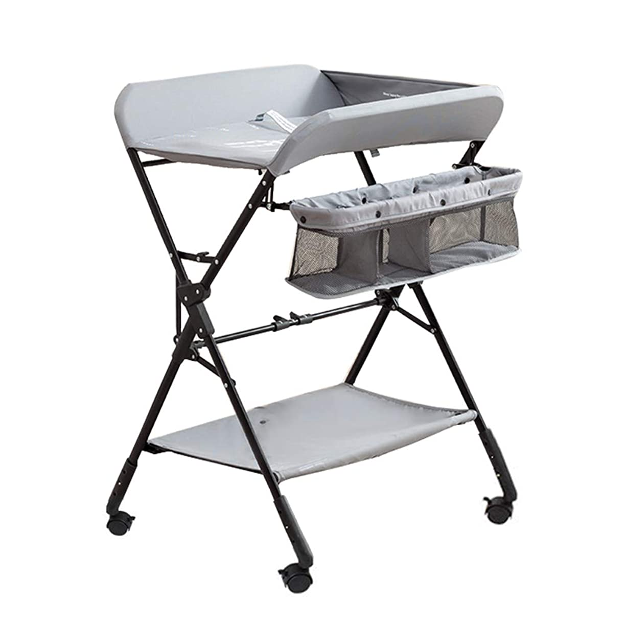 操作発明するコスチューム(Newox) オムツ替え オムツ交換台 おむつ取替テーブル 折りたたみ可能 高さ調節可能 キャスター付き オムツ交換 ベビーベッド 育児用 0~36ヶ月 (グレー)