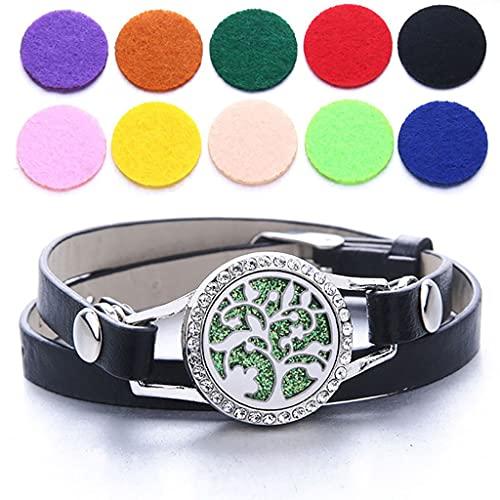 HXCSSK2 Piel aromaterapia Pulsera de Las Mujeres, Acero Inoxidable Medallones Esenciales Parejas Aceite difusor Pulsera Brazalete con 10 Almohadillas de Fieltro de Color (Color : A)