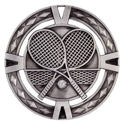 Emblems-Gifts V-Tech Tennis-Medaille mit rotem, blauem und weißem Band