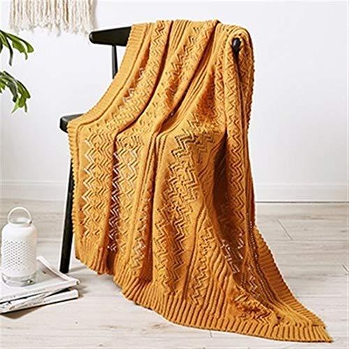 LOOEST Suave Manta del sofá de la Manta del Tiro de Punto de Punto de Salida Hallow Aire Acondicionado Manta de Viaje Transpirable 120X180cm Decoración Casa Dormitorio (Color : Vintage Yellow)