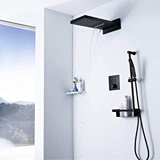 ZHHk shower head Concealed Black Copper Constant Temperature Rain Shower Waterfall Shelf With Copper Hand Shower Set