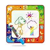 Wassermal-Matte für Kinder, niedliches Tiermuster, magische Regenbogen-Zeichenmatte mit 4 Farbblöcken und Zeichenstift, ideales Lernspielzeug für Kinder, Jungen und Mädchen (29 x 29 cm)