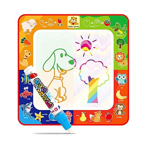 Alfombrilla de agua para niños, diseño de animales, tapete de dibujo mágico arcoíris con 4 bloques de colores y bolígrafo de dibujo, el mejor juguete educativo para niños y niñas (29 x 29 cm)