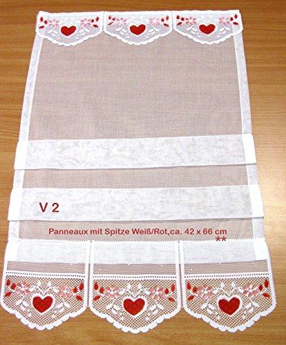 Schöner Wohnen Fertigstore - Raffrollo-Optik Weiß-Rot V2, ca. 42 x 66 cm (B/H)