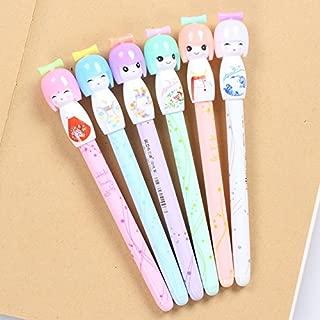 VANVENE 12pcs/lot Small Fresh Japanese Doll colored gel pens for writing cartoon 0.38mm black ink roll pen office school supplies