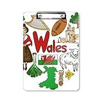ウェールズの愛の心の英国の風景の国旗 フラットヘッドフォルダーライティングパッドテストA4