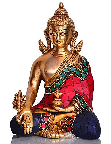 Purpledip Healing Medicine Lord Buddha in Solid Brass Metal with Turquoise Gem-Stone Work for Home Temple, Office Table or Shop Counter (10531)