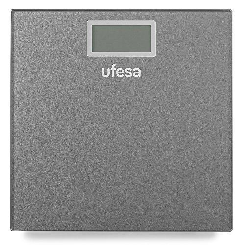Ufesa BE0906 Báscula de Baño,29 x 28 cm diseño Slim de Alta, Unidades de Medida: kg/LB/st, Máx 150 kg/precisión 100g, Auto-Stop, Blanco y Gris