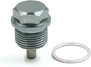 sourcing map M12 x 1.5 Grigio Alluminio Magnetico Lega Scarico Coppa Olio Motore Vite bullone per Auto