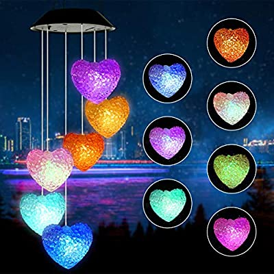 Jhua Wind Chime, Solar Wind Chimes Outdoor Changing Colors Waterproof Heart LED Solar Windchime Lights Unique Outdoor Decor for Yard, Patio, Garden, Home, Indoor, Festival