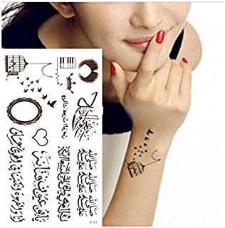 Arabic Word Temporary Tattoos Brown Cage Bird Parrot Love Waterproof Sticker Islamic Persian Muslim Decor Mubarak EID Wave Heart Punk Ramadan EID Gift Mubarak