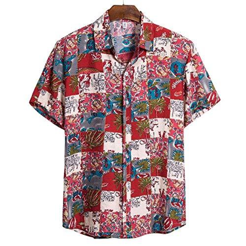 RelaxLife Camisa de Manga Corta para Hombre Camisa De Palma para Hombres Camisa con Estampado Floral Delgado para Hombres Camisa Floral De Manga Corta para Hombres Ropa Básica para Hombres Camisa Ca