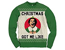 SHow your enthusiasm for Christmas is as great as that of  Buddy the Elf in the 2003 Elf Christmas Movie. Christmas Got Me Like with Will Ferrell's face