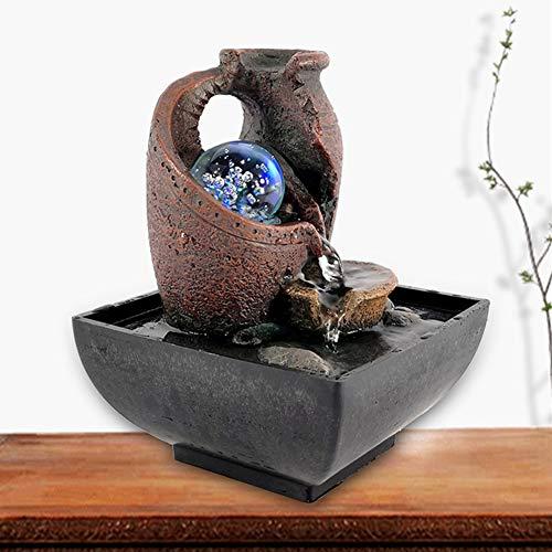 Jimfoty Fuente de Mesa con Luces LED, Fuente de Escritorio Adorno de decoración de Agua Corriente para Patio Interior Fuente de Agua de Interior/Exterior(Enchufe de la UE)