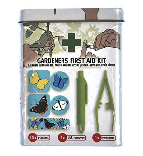 Esschert Design Gardeners First Aid Kit with Tick Remover, Tweezers and 25 Plasters/Band Aids
