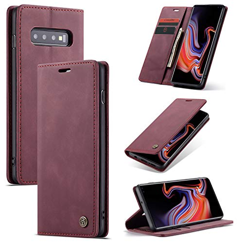 AKC Funda Compatible para Samsung Galaxy S10 Plus Carcasa con Flip Case Cover Cuero Magnético Plegable Carter Soporte Prueba de Golpes Caso-Vino Rojo