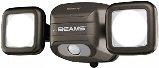 Mr. Beams MBN3000 Netbright 500 Lumen High Performance Wireless Battery Powered Motion Sensing LED Dual Head Security Spotlight, Brown (Renewed)