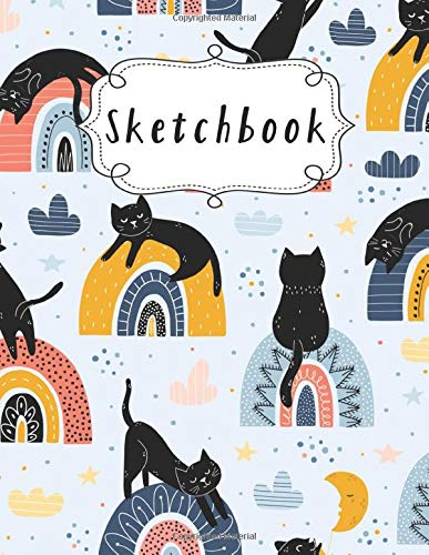 Sketchbook: Cute Cats Kawaii sketchbook for kids +100 Pages of 8.5'x11' Large Blank Paper For Drawing, Sketching & Crayon Coloring … Cute Cat sketch book gift for Kids (Kids Drawing Books) (Volume 2)