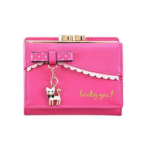 LUI SUI Frauen PU Leder Brieftasche Nette Katze Tier Kartenhalter Organizer Kleine Geldbörse Quaste Reißverschluss für Damen und Mädchen