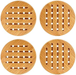 Weikai 11 Set of 4, Solid Bamboo Wood Trivets with Non-Slip Pads for Hot Dishes and Pot (7