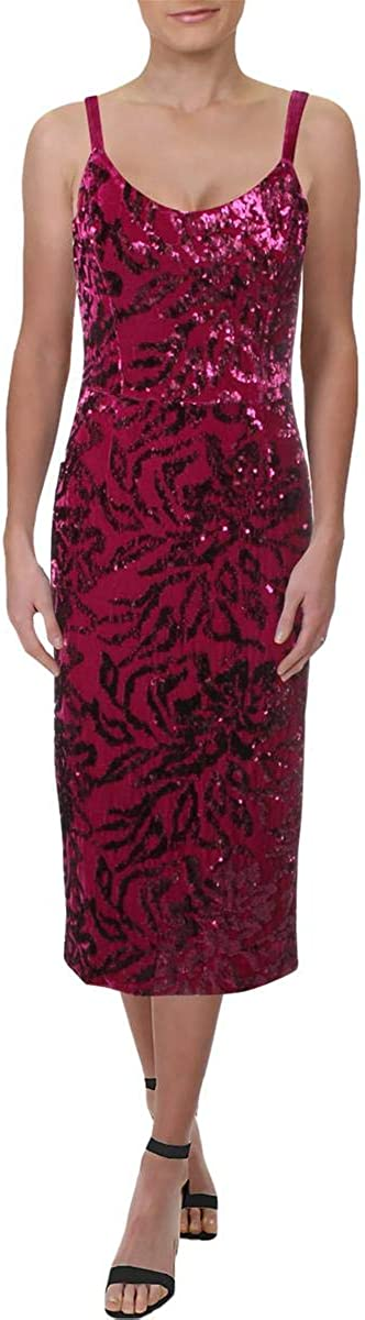 Dress the Population Women's Lynda Sequin Sleeveless Fitted Midi Sheath Dress