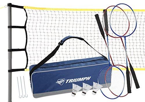 Triumph Premium Badminton Set - Including Net, 4 Steel Rackets and 3 Shuttlecocks