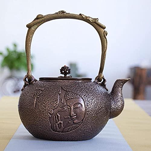 QOHG Hervidor de bronce fundido Ruyi Hervidor de bronce Tetera de agua hirviendo Hervidor de bronce pesado Juego de té de Kung Fu-B_1400ml