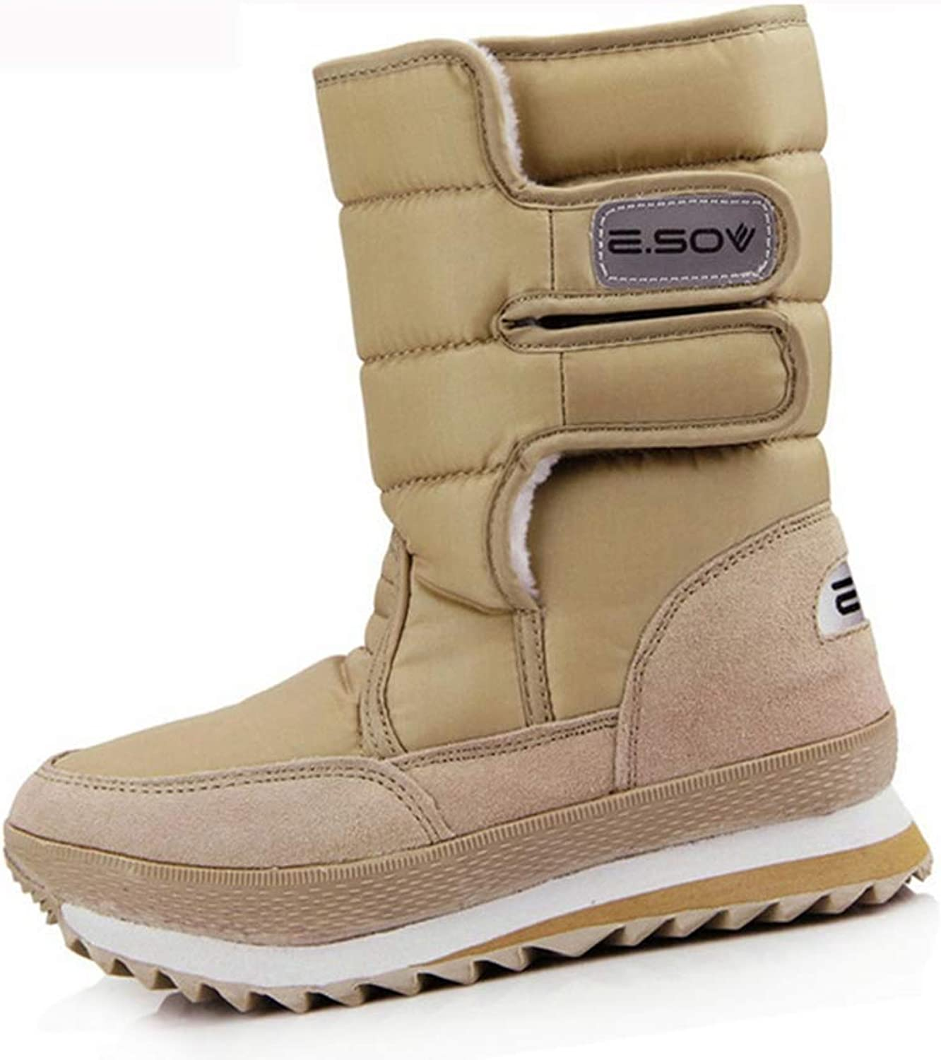 Woman Snow Boots Non-Slip Sole Low Heel Hook & Loop Waterproof Plush Winter Warm Female Mid Calf Boot Multicolor