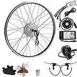 SEASON 36V 350W 26 Pouces Conversion Kit de Vélo Electrique de Roue Arrière Freewheel Moteur à Moyeu Argenté pour E-Bike Bicycle avec Affichage LCD
